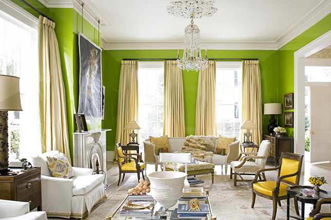 Chartreuse living room colors