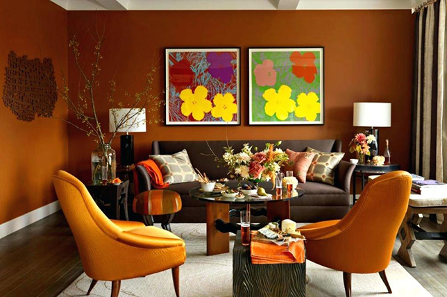 burnt orange living room colors