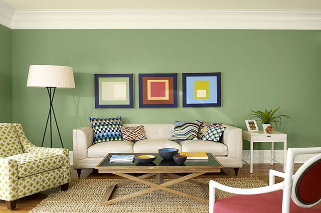 green living room colors