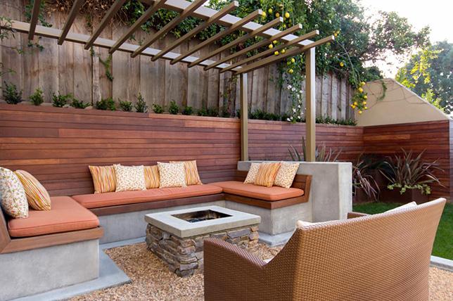 Backyard patio ideas bench