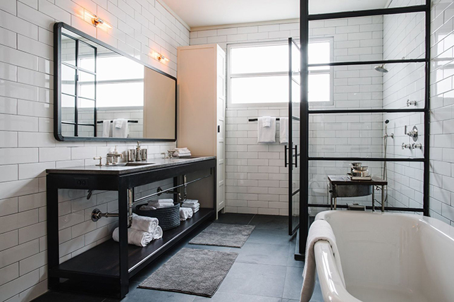 Shower ideas with a metal frame