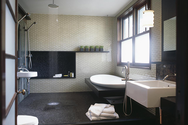 gray brick shower ideas