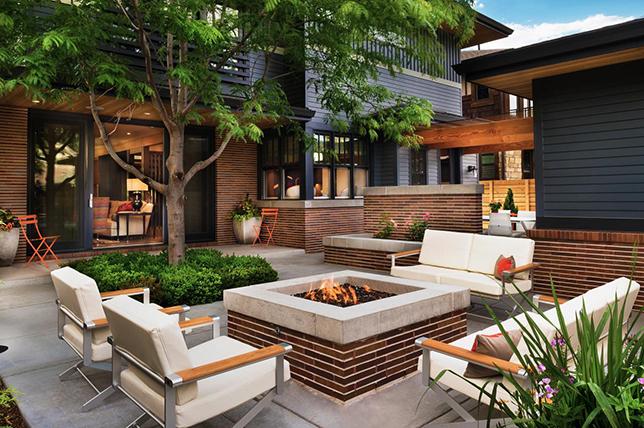 modern outdoor summer decor ideas fireplace