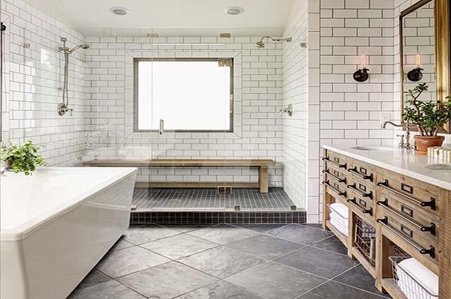 modern bathroom in the farmhouse