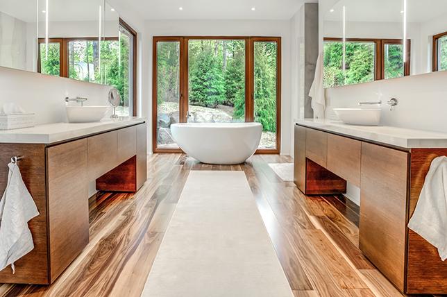 Interior design bathroom in contemporary style