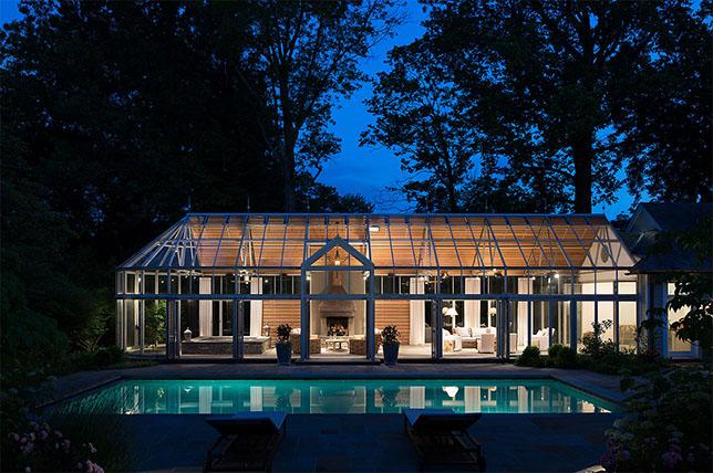 Glass pool house plans