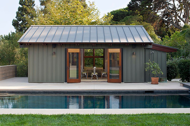 Shipping container pool house plans