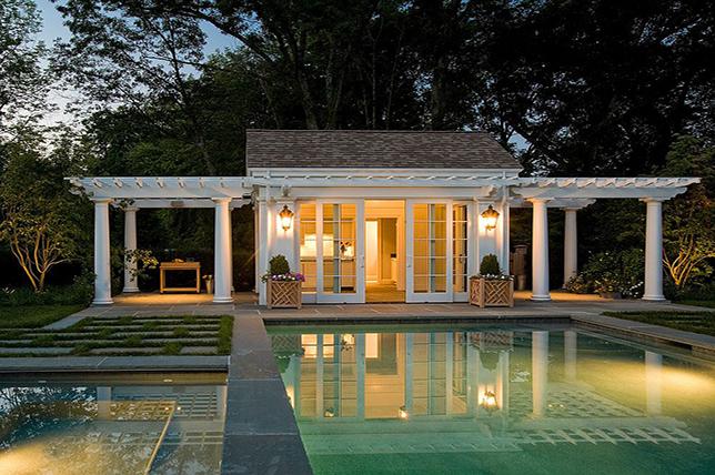 two pergola pool house plans