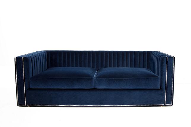 modern blue velvet sofa
