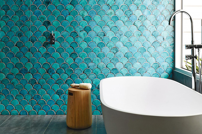 scalloped bathroom tile ideas
