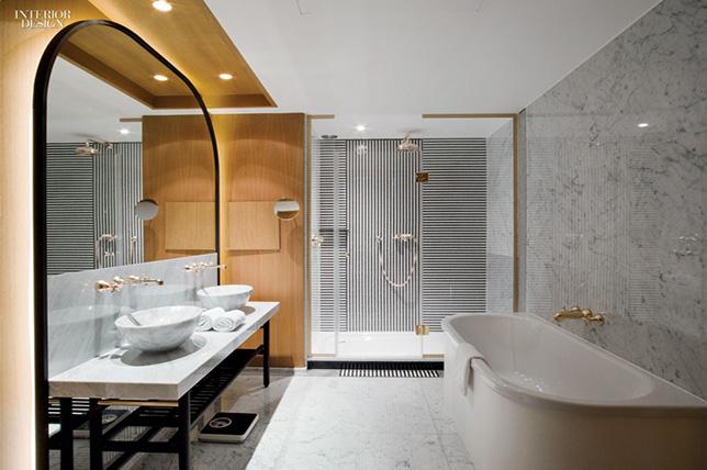 striped hotel bathroom tile design ideas