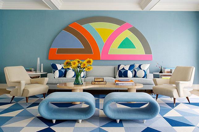 geometric living room paint ideas