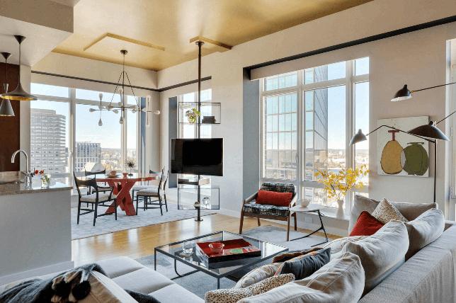 Living room color paints ceiling