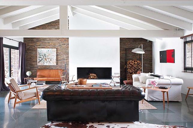 modern rustic industrial living room