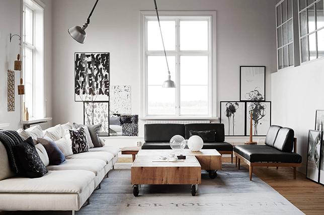 Rustic industrial living room interior design