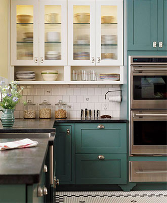 Paint kitchen cabinets to add pops of color to your home