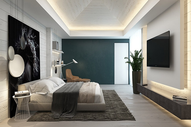 dark green accent walls