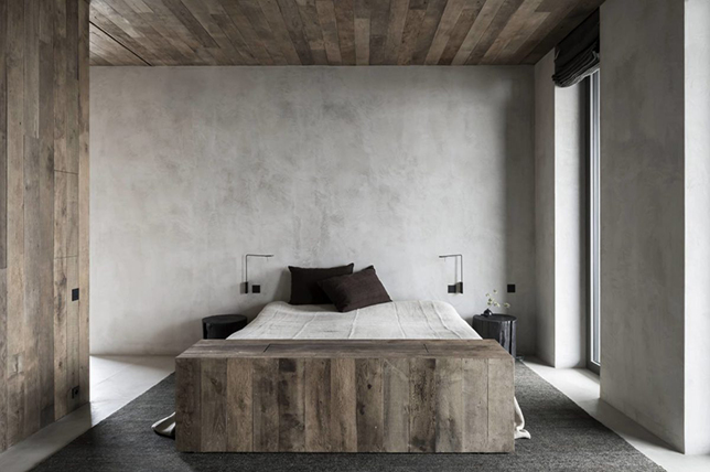 Interior design trend made from natural wood