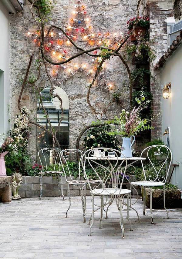 Cafe table set arched mirror patio