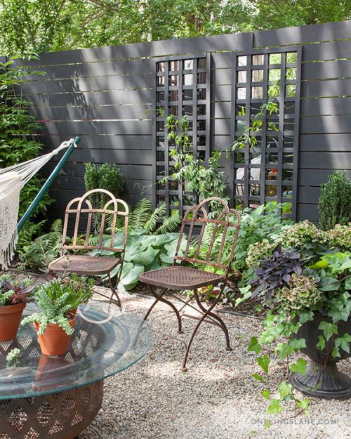 gray mirrored espalier garden