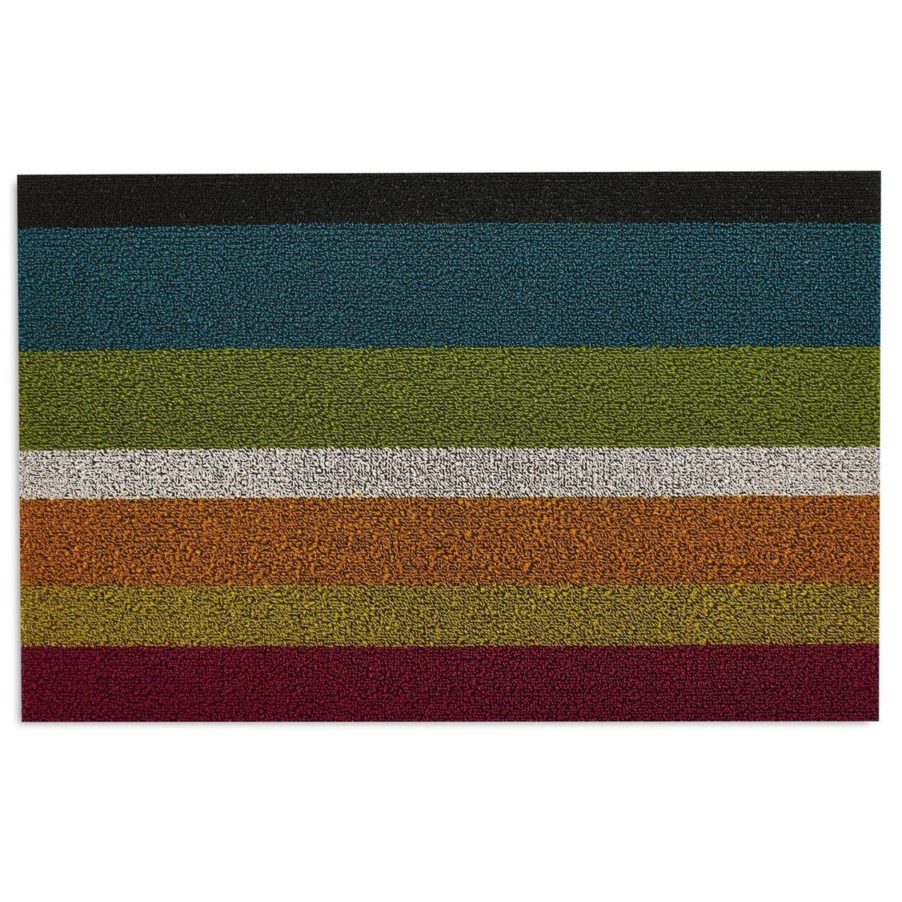 multi-colored striped doormat
