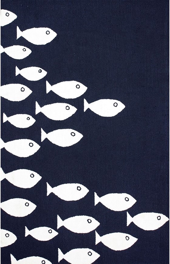 Outdoor rug with dark blue white fish print