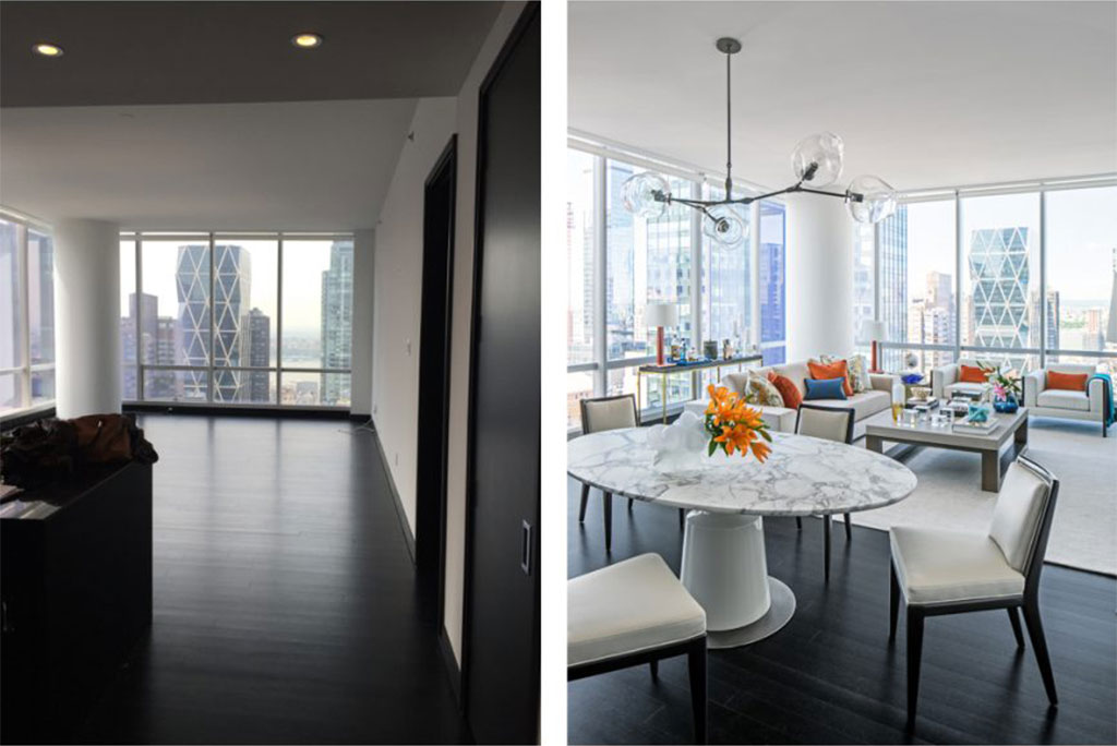 Before and after Transformation One 57 dining room