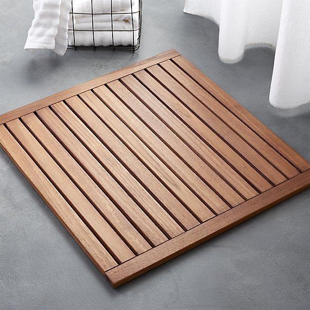 Spa wooden bath mat at home