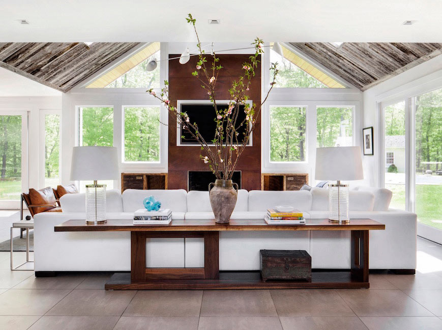 New England Colonial Reclaimed Wood Ceiling
