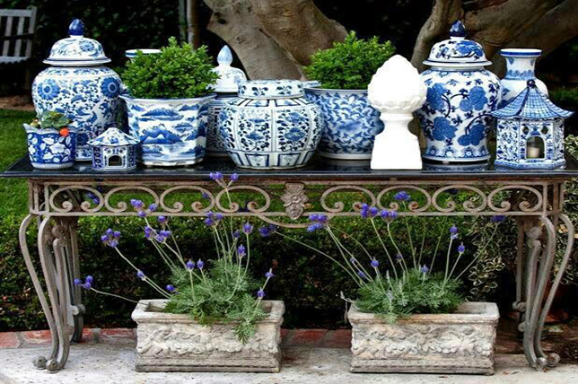 Vases outdoors