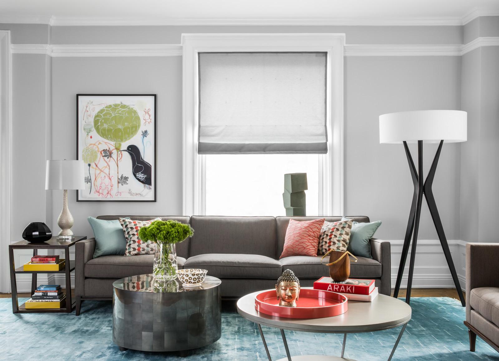 gray sofa lighting