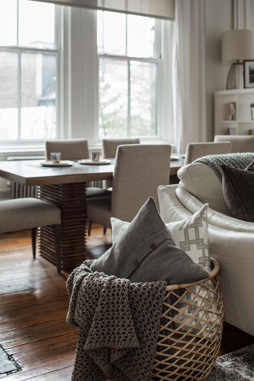 gray sofa baskets