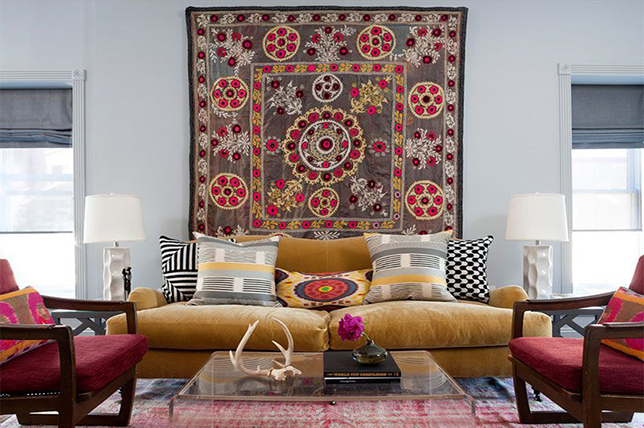 hang a rug on a wall to find a new focus