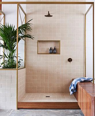 Bathroom plank tiles