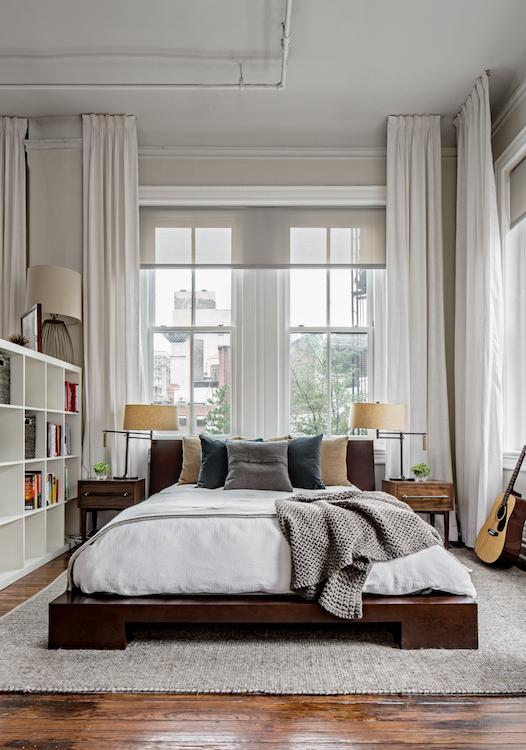 Master bedroom bookcase wall divider