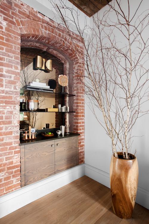 Display shelves made of exposed bricks