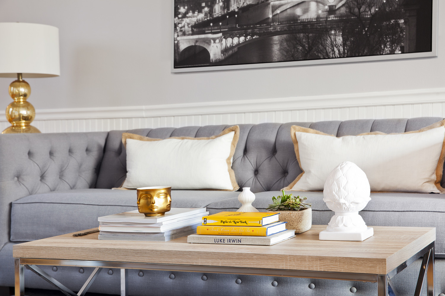 gray purple tufted couch