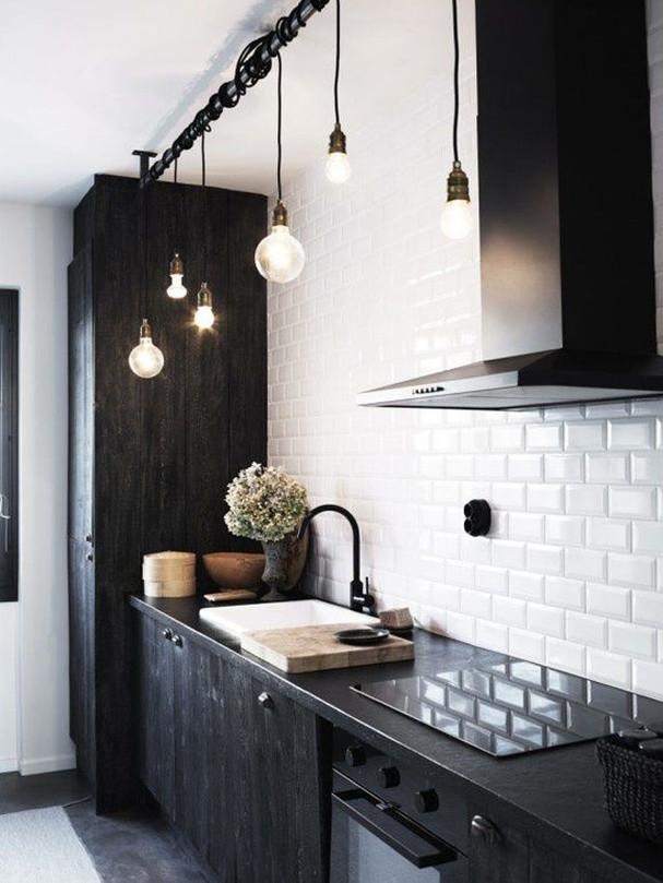 Edison lightbulbs black kitchen