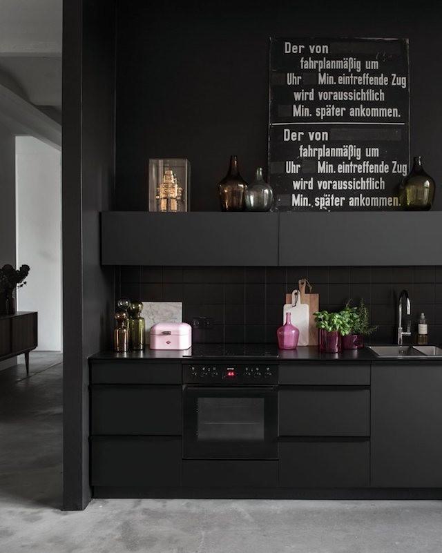 black kitchen modern art