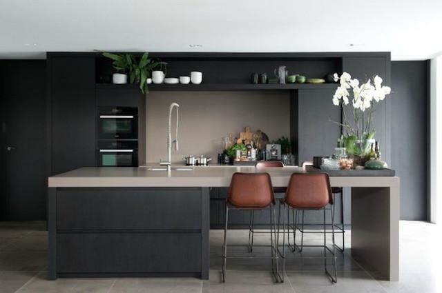Modern black kitchen leather stool