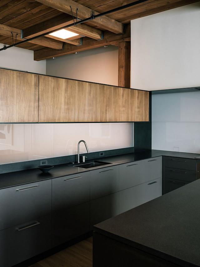 Wooden cabinets modern black kitchen
