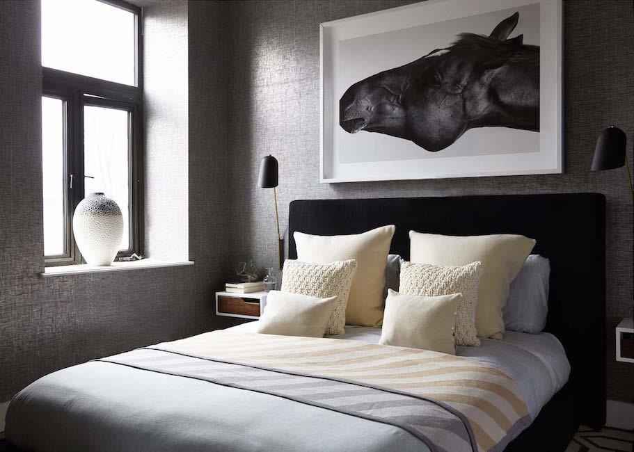 gray wallpaper master bedroom