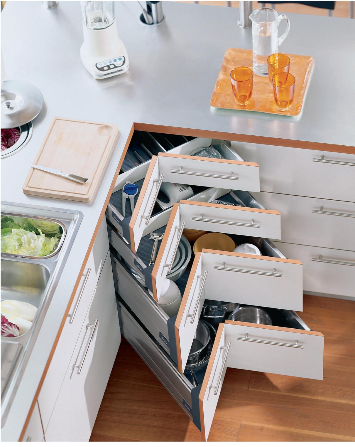 Corner drawer kitchen shelf solution