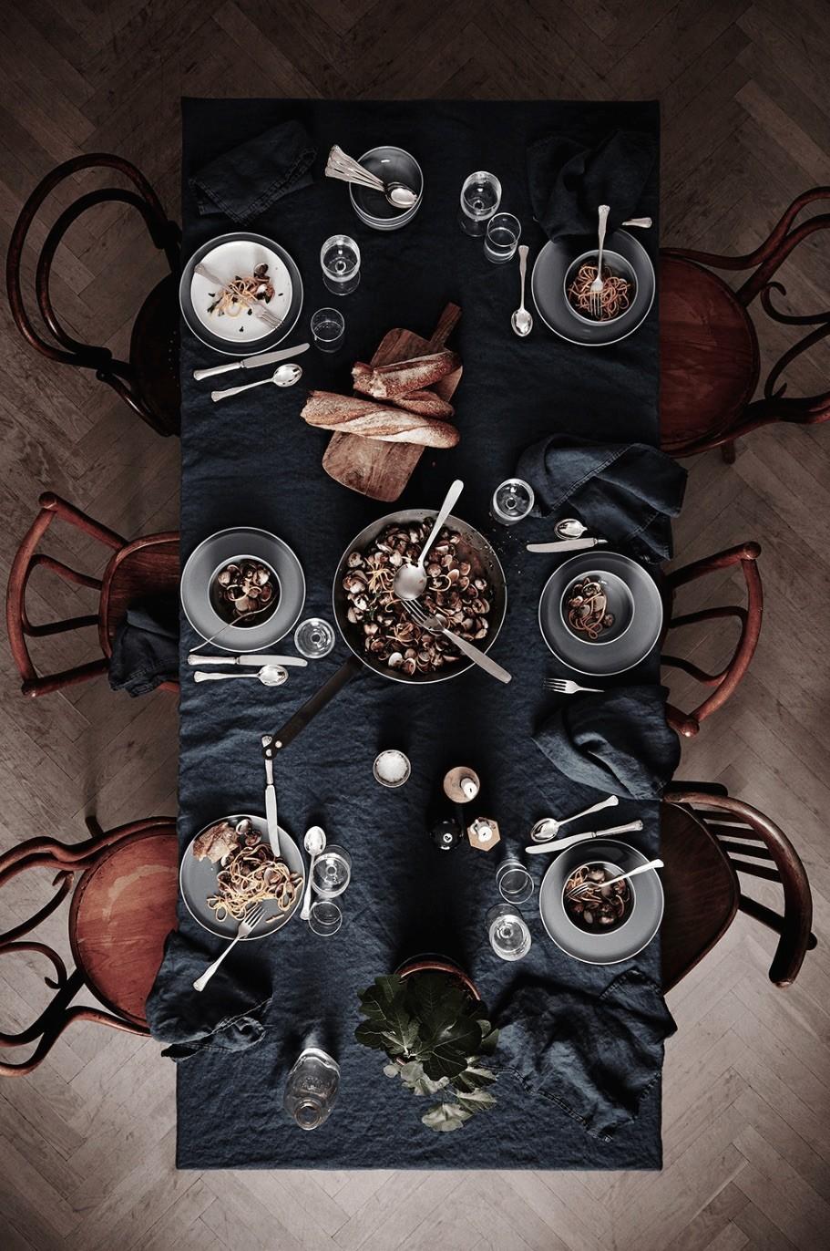 Dark natural Halloween table setting