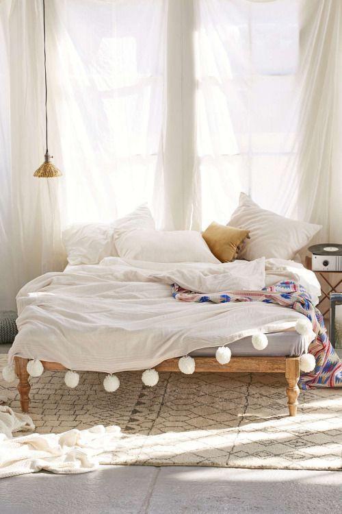 bohemian white bedroom pom pom duvet