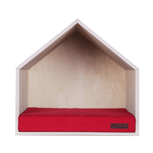 Wooden house shaped dog bed