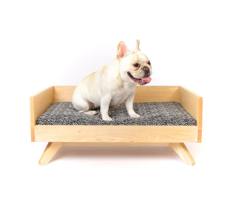 Mid-century style wooden dog bed