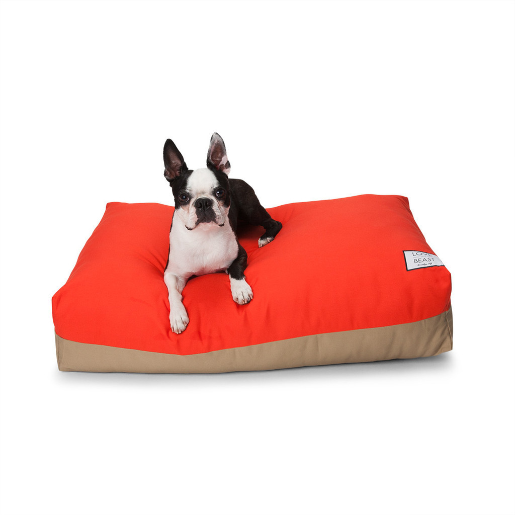 red and khaki dog bed