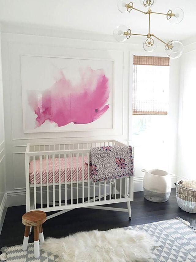 pink abstract nursery wall art