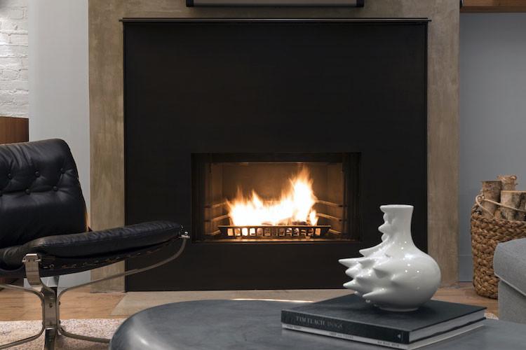 urban loft concrete fireplace